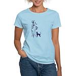 Dark Flowers 'N' Kitty Design Women's Light T-Shir
