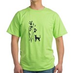 Dark Flowers 'N' Kitty Design Green T-Shirt