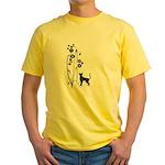 Dark Flowers 'N' Kitty Design Yellow T-Shirt