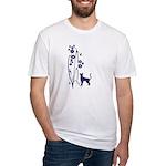 Dark Flowers 'N' Kitty Design Fitted T-Shirt