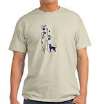 Dark Flowers 'N' Kitty Design Light T-Shirt
