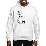 Dark Flowers 'N' Kitty Design Hooded Sweatshirt