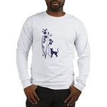 Dark Flowers 'N' Kitty Design Long Sleeve T-Shirt