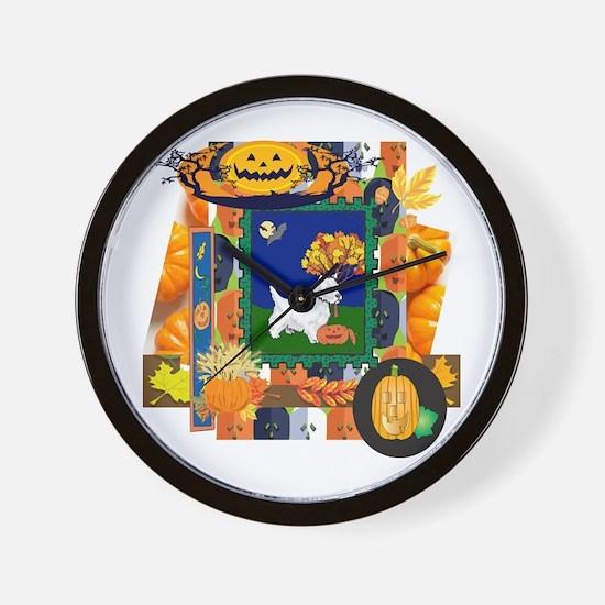 Scrapbook Westie Halloween Wall Clock