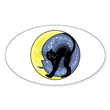 Black Cat & Moon Oval Decal