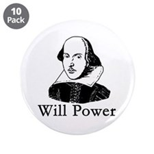 "William Shakespeare WILL POWER 3.5"" Button (10 pac"