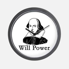 William Shakespeare WILL POWER Wall Clock