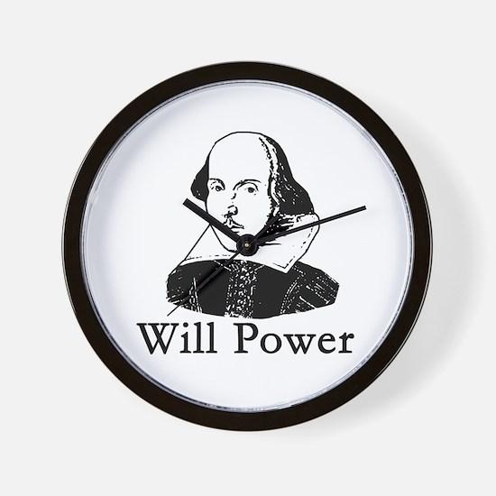 William Shakespeare WILL POWER Wall Clock