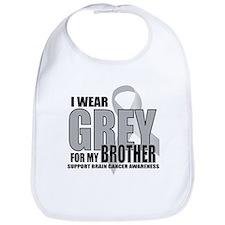 Brain Cancer: Grey For Brother Bib