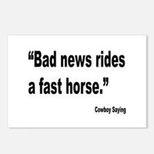 Bad News Fast Horse Cowboy Proverb Postcards (Pack