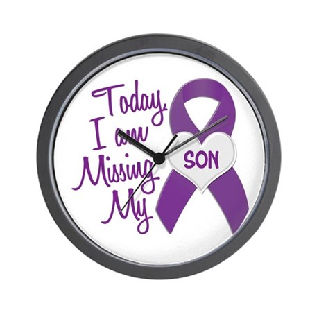 Missing My Son 1 PURPLE Wall Clock