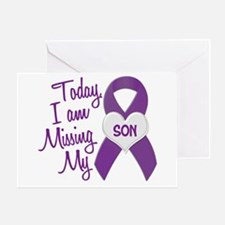 Missing My Son 1 PURPLE Greeting Card