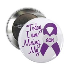 """Missing My Son 1 PURPLE 2.25"""" Button (10 pack)"""