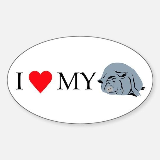 I Love My Pot Bellied Pig 2 Sticker (Oval)