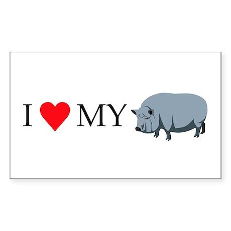 I Love My Pot Bellied Pi Sticker (Rectangle 10 pk)