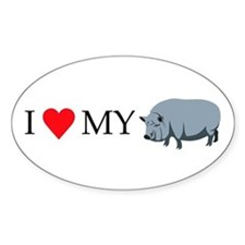 I heart my pot bellied pig Oval Decal