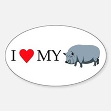 I Love My Pot Bellied Pig (1) Sticker (Oval)