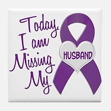 Missing My Husband 1 PURPLE Tile Coaster