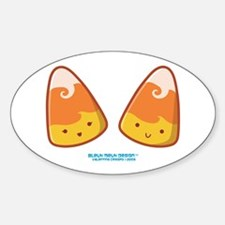 Mrs & Mr Kawaii Candy Corn Oval Decal