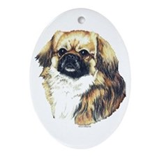 Tibetan Spaniel Happy Holiday Oval Ornament