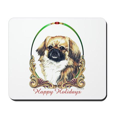 Tibetan Spaniel Happy Holiday Mousepad