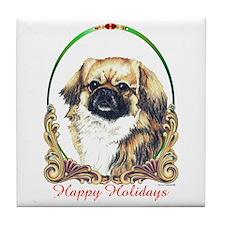 Tibetan Spaniel Happy Holiday Tile Coaster