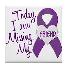 Missing My Friend 1 PURPLE Tile Coaster