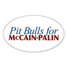 Pit Bulls for McCain Palin Oval Decal