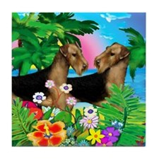 AIREDALE TERRIER DOGS SUNSET Tile Coaster
