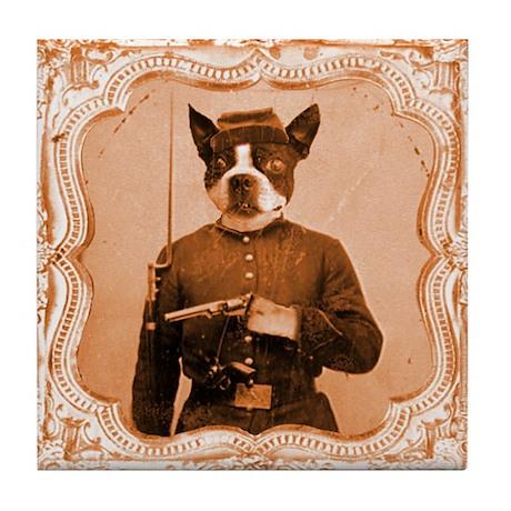 Boston Terrier LEFTY Tile Coaster