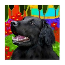 FLAT COATED RETRIEVER LAKE Tile Coaster