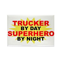 Trucker by Day Rectangle Magnet