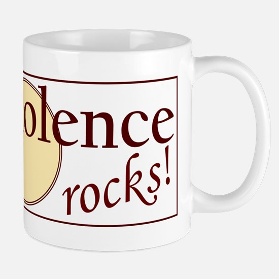 nonviolence rocks rectangle v 1 Mugs