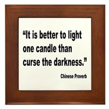 Light One Candle Chinese Proverb Framed Tile