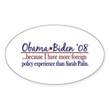Anti-Palin Foreign Policy Experience Decal