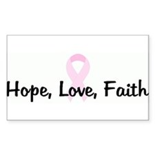 Hope, Love, Faith pink ribbon Rectangle Decal