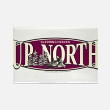 Up North Nortwoods Snowmobiler Rectangle Magnet