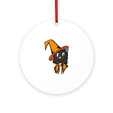 Black Cat in Hat Ornament (Round)
