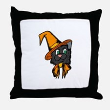 Black Cat in Hat Throw Pillow