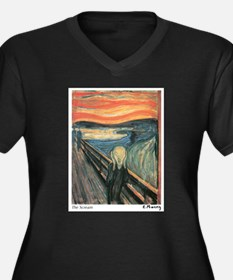 The Scream Women's Plus Size V-Neck Dark T-Shirt