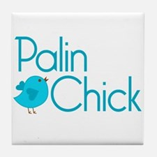 Palin Chick Blue Tile Coaster