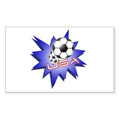 Soccer USA Rectangle Sticker 10 pk)