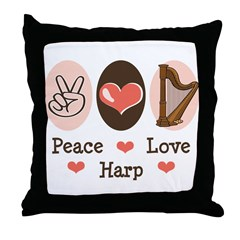 Peace Love Harp Throw Pillow