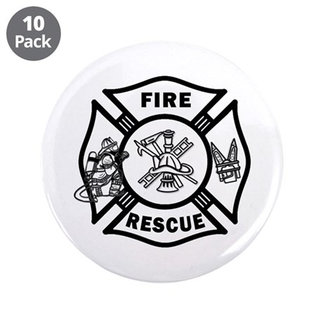 """Fire Rescue 3.5"""" Button (10 pack)"""