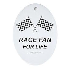 Checker Flag Race Life Oval Ornament