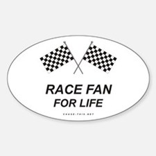 Checker Flag Race Life Oval Decal