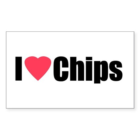 I Love Chips Rectangle Sticker