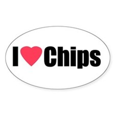 I Love Chips Oval Decal