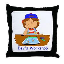 Bev and crayons Throw Pillow