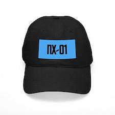 NX-01 Baseball Cap - Black txt/Sci-Med blue backgrnd